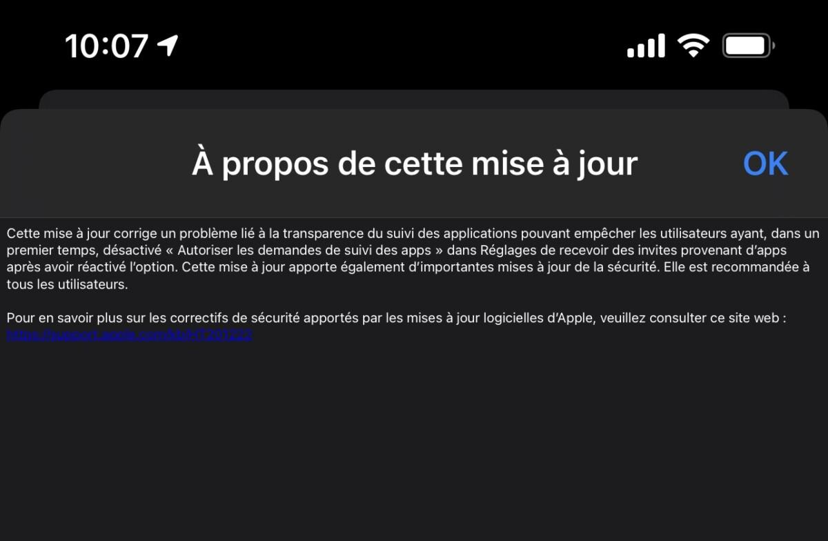 La mise à jour iOS14.5.1 d'Apple