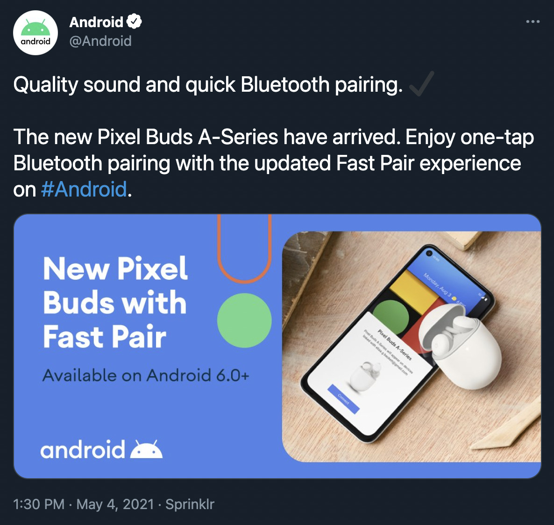 Le tweet annonçant par erreur l'arrivée des Pixel Buds A-Series // Source: 9to5Google