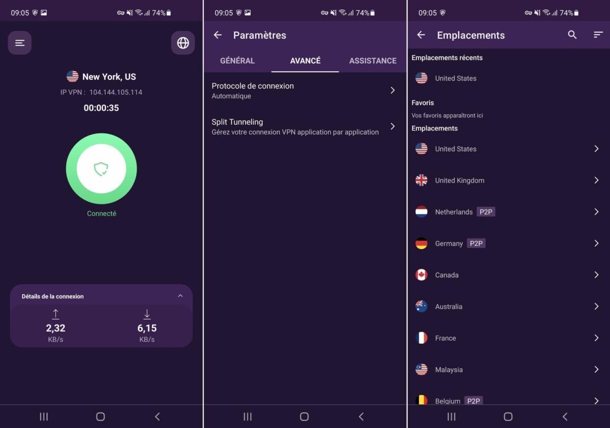 L'application Android de PureVPN a fait peau neuve récemment et mise désormais sur la sobriété.
