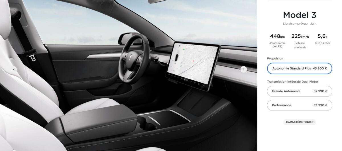 Le configurateur en ligne de la Tesla Model 3