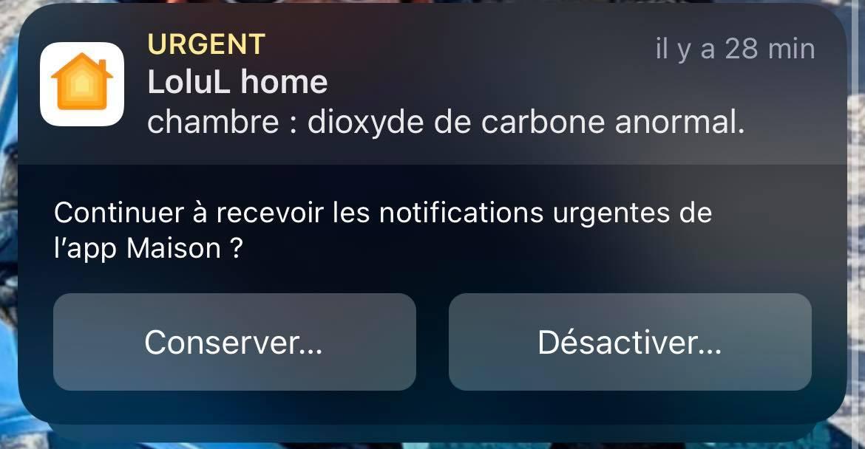 Cette notification est marquée comme urgente, elle peut désactiver certaines modes de concentration temporairement
