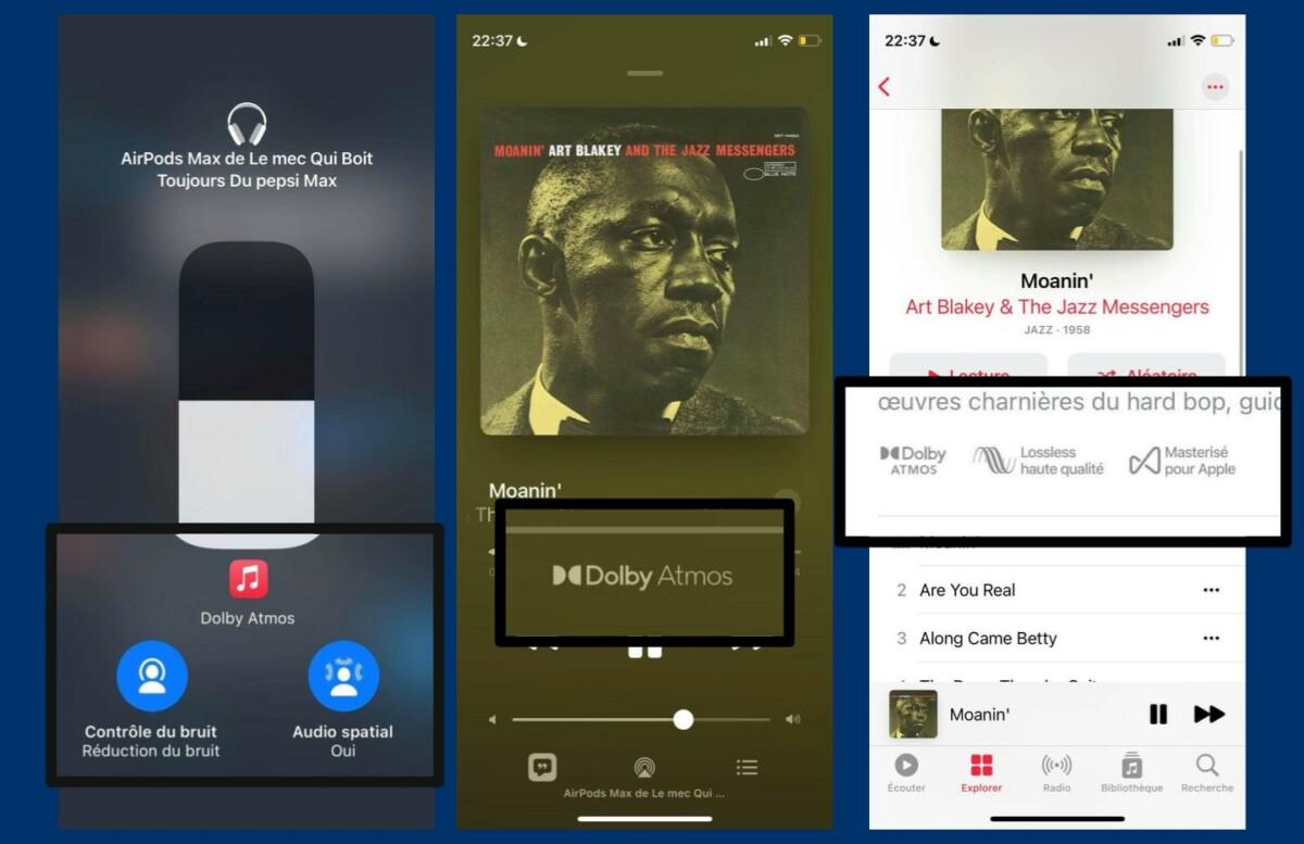 Ne confondez pas les différents concepts: ici on parle du Dolby Atmos, ce qui est différent du Lossless. Quand un titre est compatible avec l'audio spatial, un badge Dolby Atmos doit être présent. Vérifiez également que l'audio spatial est activé dans les réglages rapides de l'iPhone.