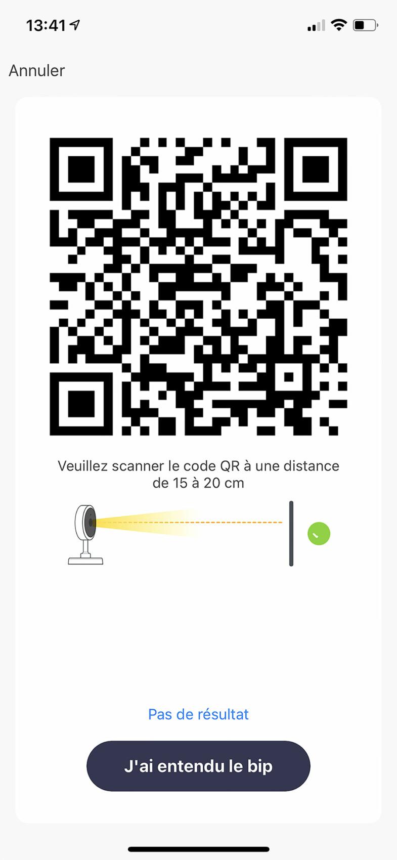 Ce QR Code valide la connexion et l'installation de la caméra sur votre réseau