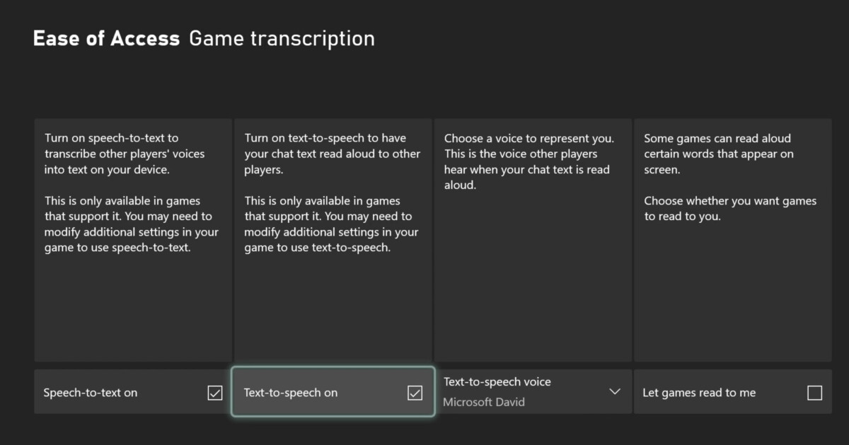 Text-to-speech and speech-to-text are coming to games chat