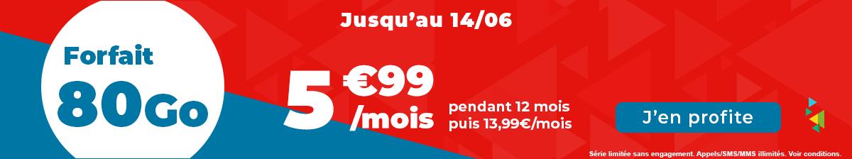 Bannière du forfait 80 Go sur le site Auchan télécom