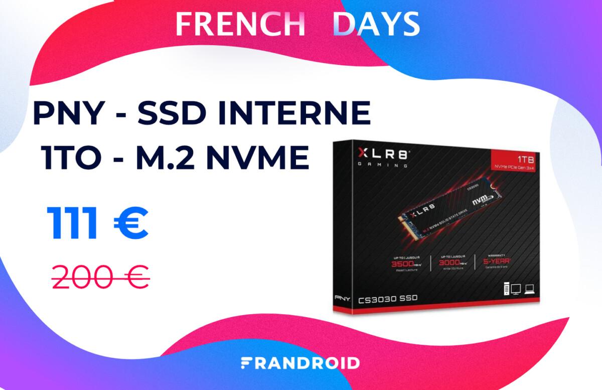 french days pny ssd interne 1to m2 nvme 1200x777 - Ce performant SSD NVMe (format M.2) avec 1 To de stockage est en forte promotion
