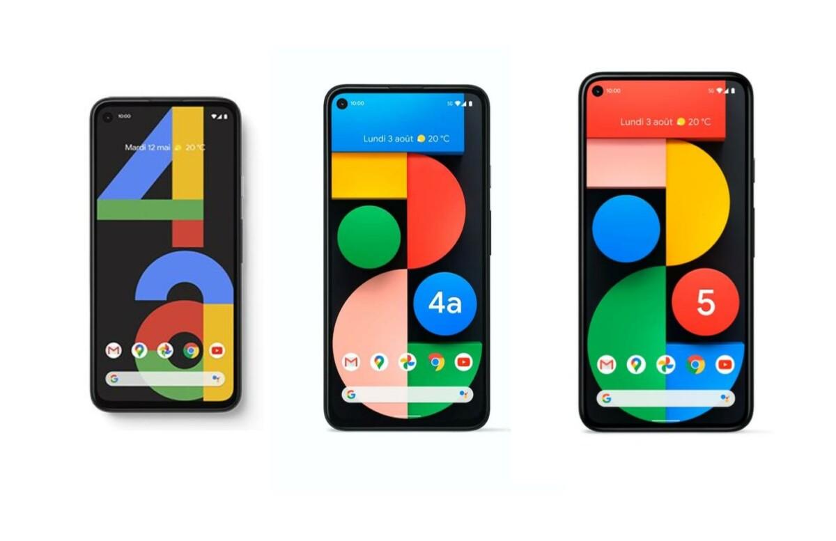 Voici dans l'ordre les Google Pixel 4a, Google Pixel 4a 5G et Google Pixel 5