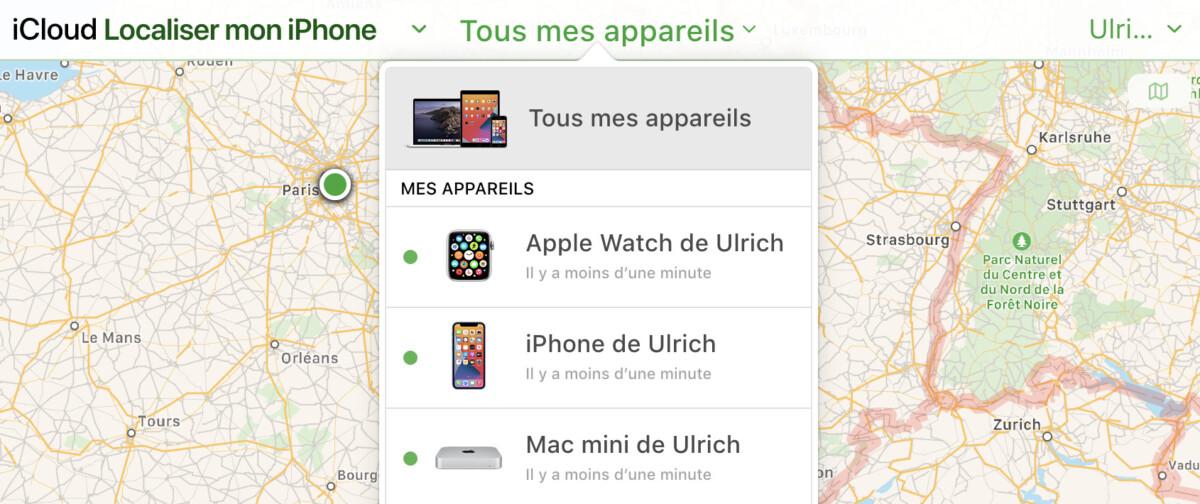 iCloud Localiser sur le web
