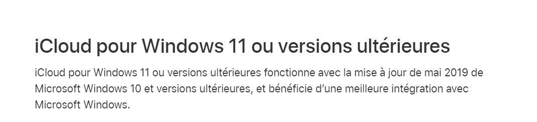 Il faut lire «iCloud pour Windows» version11