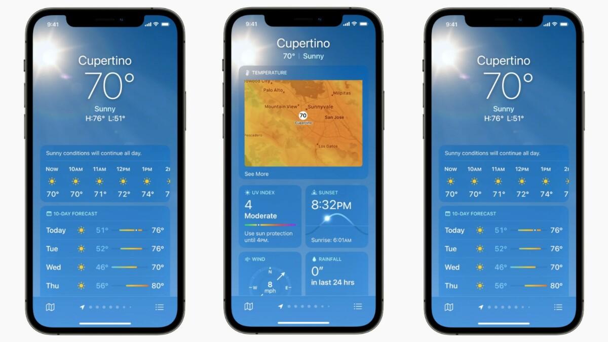 La nouvelle application Météo affiche beaucoup plus de détails que la précédente
