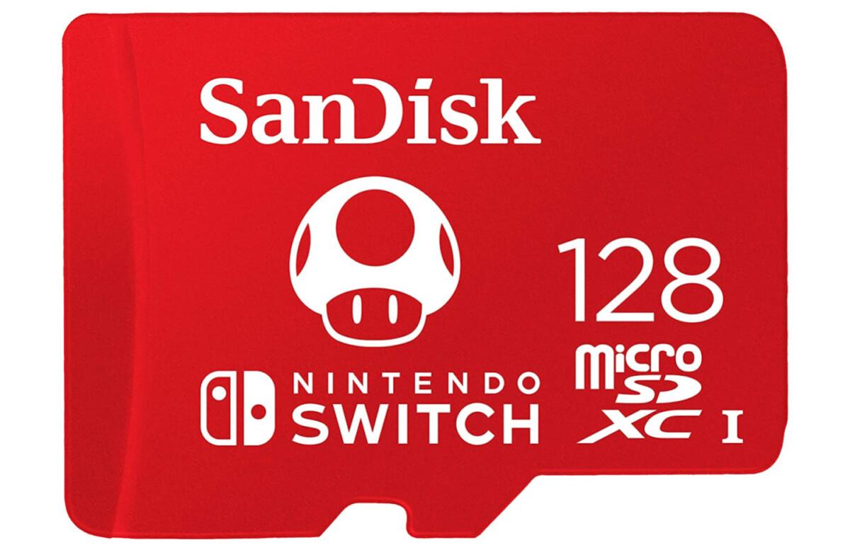 Le joli design de la microSD SanDisk Nintendo 128 Go, avec le célèbre champignon qui fait grossir Mario