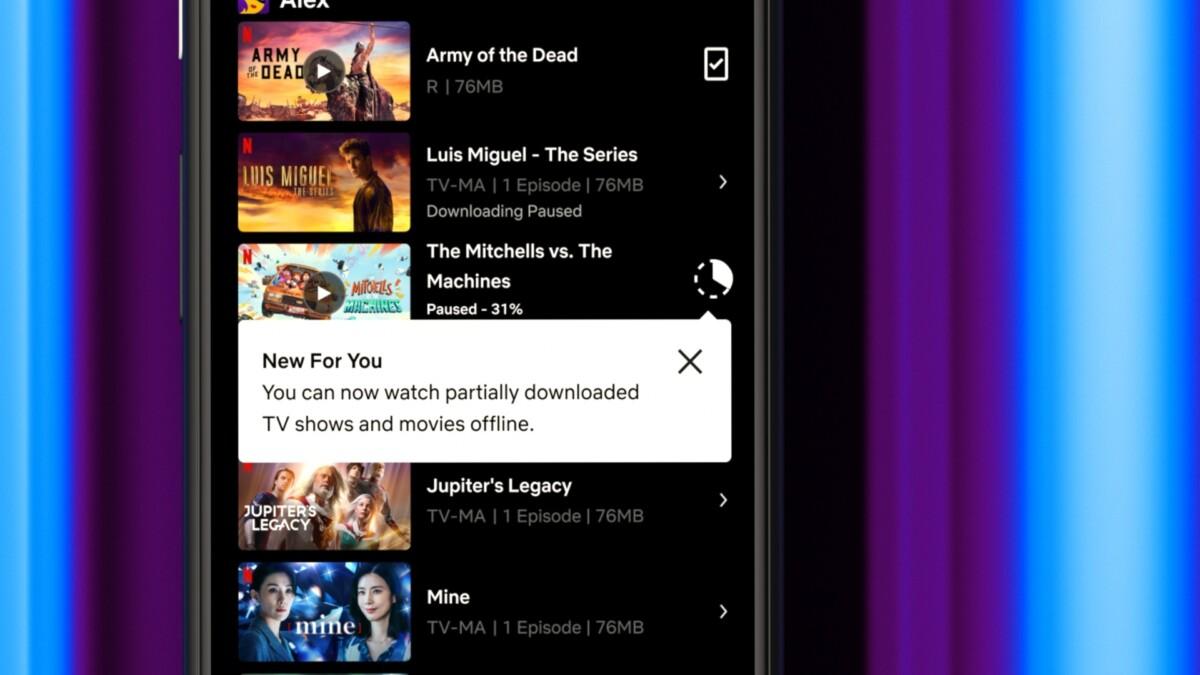 L'application Netflix permet maintenant d'entamer la lecture d'un contenu avant la fin du téléchargement