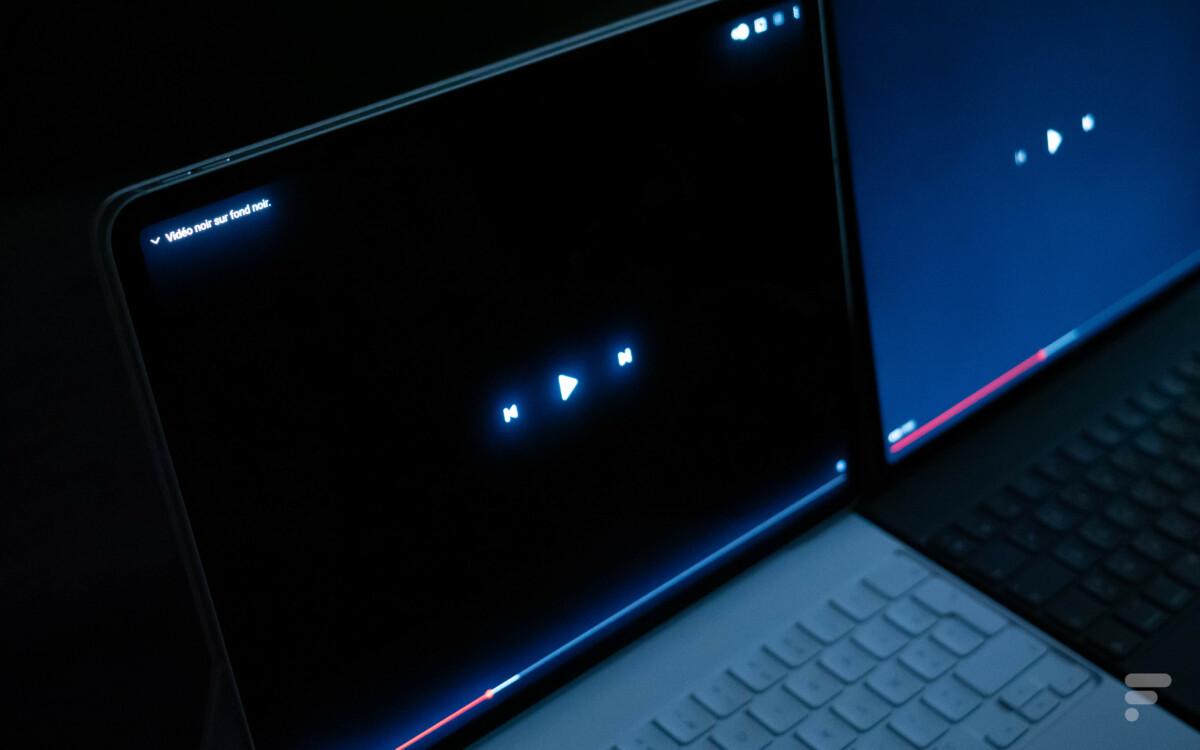 L'effet de halo est assez présent sur l'écran mini LED de l'iPad Pro