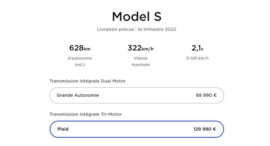 Model S Plaid: comme prévu, Tesla augmente son prix même en France