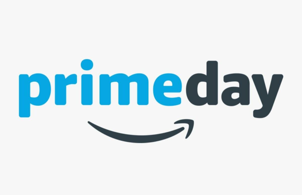 Le logo de l'événement Prime Day d'Amazon, sur un fond gris