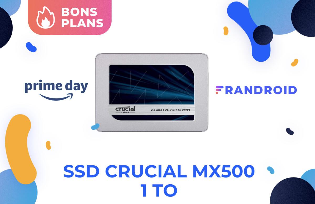 Promotion pour le SSD Crucial MX500 1 To pour le Prime Day 2021 d'Amazon.