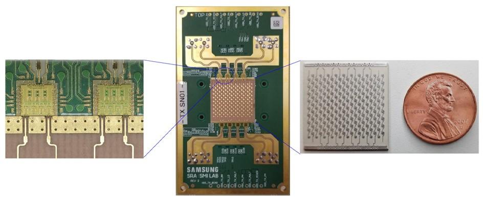 Les différents composants du nouveau prototype 6G de Samsung: les circuits de radiofréquence (à gauche), le module de réseau phasé (au centre) et le réseau d'antennes (à droite)
