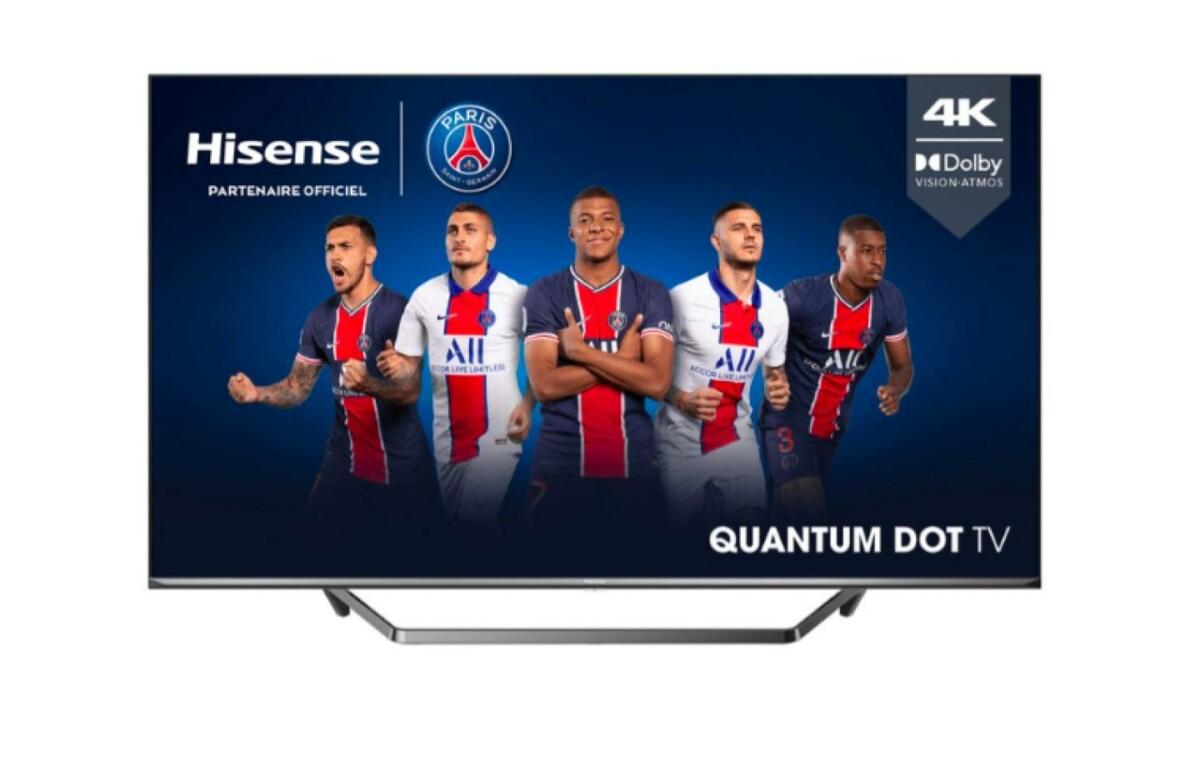 Le TV 4K QLED de Hisense, où l'on peut apercevoir certains membres de l'équipe du PSG