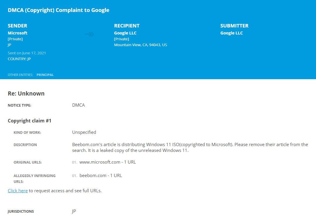 Το DMCA της Microsoft ζητά από την Beebom να μοιραστεί τα Windows 11