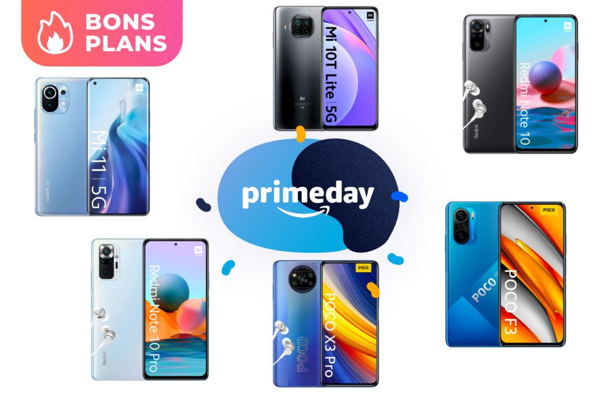 Promotions appliquées sur les smartphones Xiaomi pour le Prime Day 2021 d'Amazon.
