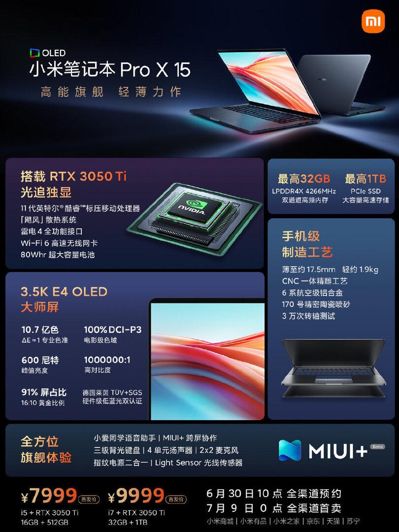 Le Xiaomi Mi Notebook Pro X se muscle avec du Intel Core 11e, un écran OLED et désormais un GPU Nvidia RTX 30