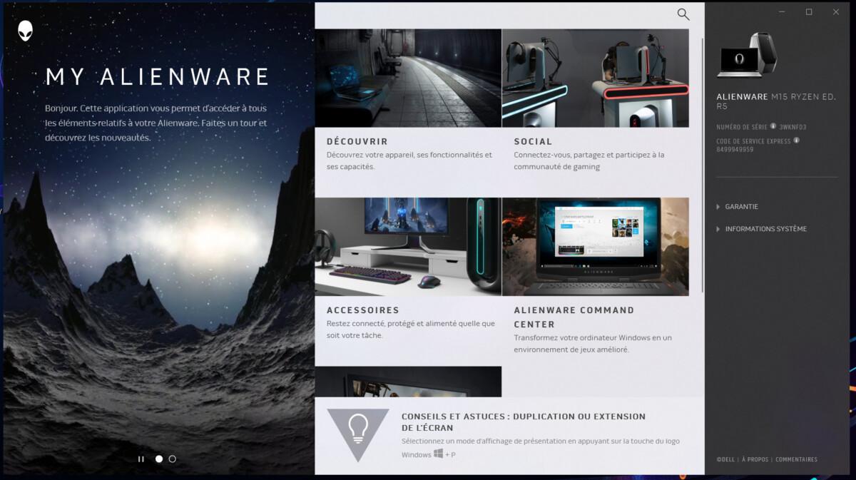 Alienware propose deux petits logiciels dont My Alienware.