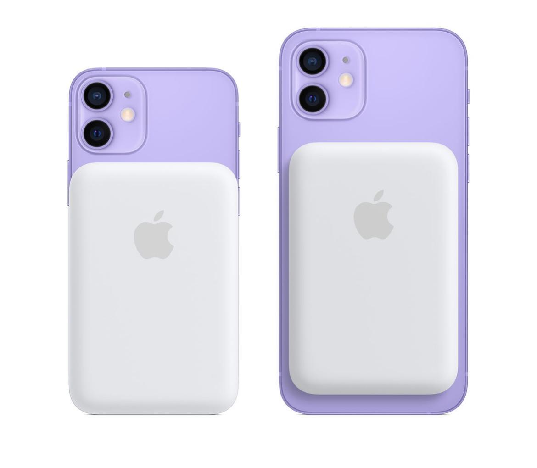 La batterie magsafe accrochée à un iPhone 12 Mini et un iPhone 12.