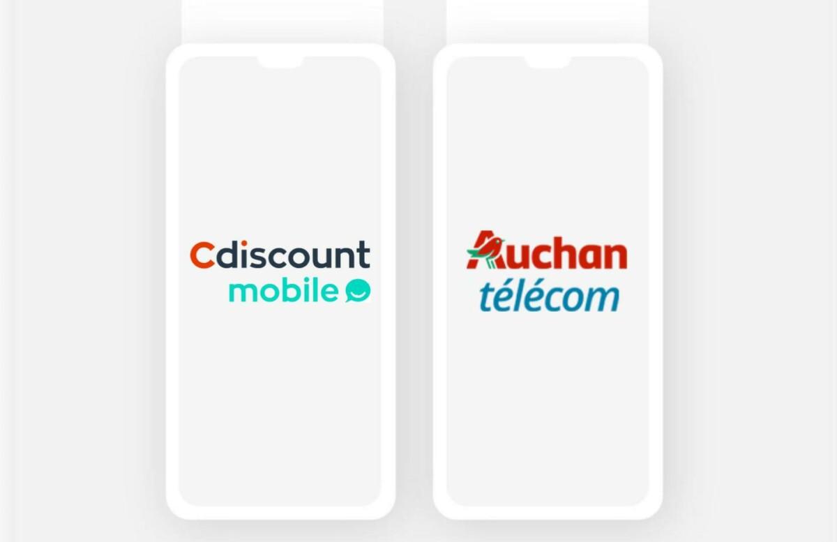 Les logos Auchan télécom et Cdiscount mobile sur un fond de smartphones