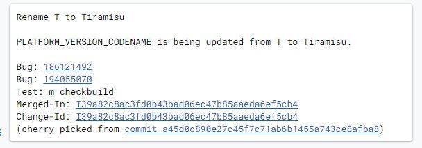 Le commit d'Android 13 Tiramisu