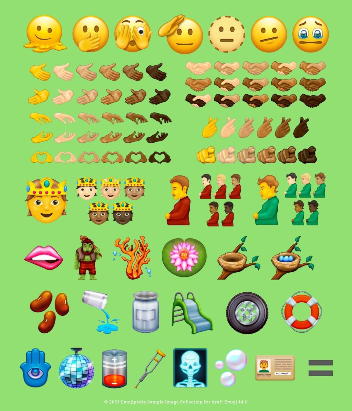 Ilustrasi Emoji yang disarankan untuk versi 14 // Sumber: Emojipedia