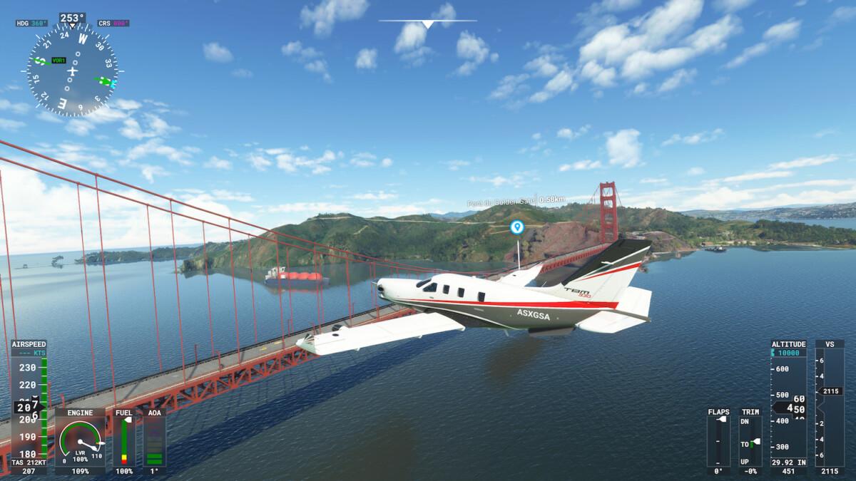 Le Golden Gate Bridge dans Flight Simulator sur Xbox Series
