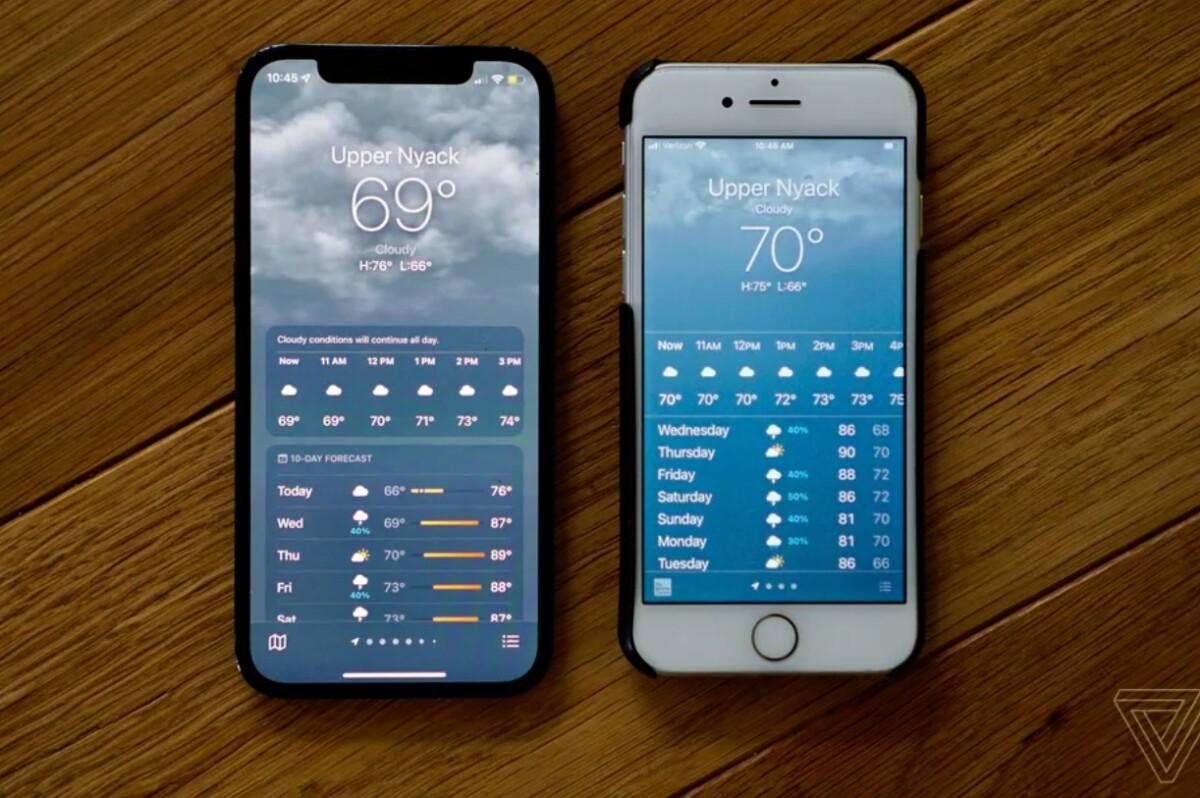 Ici les prévisions météo sur iOS 15 (à gauche) et celles affichées par iOS 14.6 (à droite)