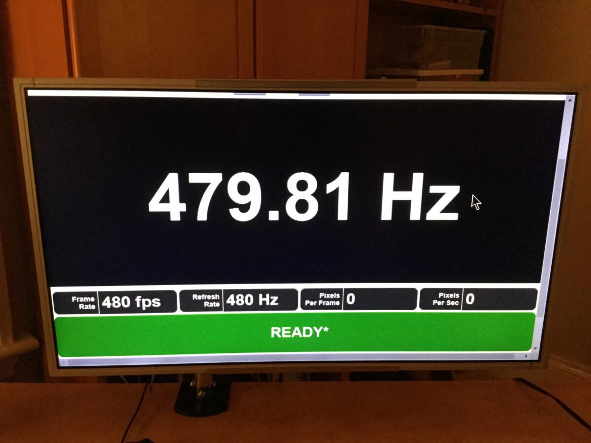 En 2017, le site Blur Busters avait pu tester un écran capable d'afficher un taux de rafraichissement de 480Hz en 540p.