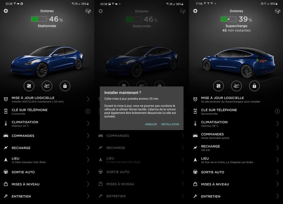 La mise à jour de la voiture depuis l'application Tesla