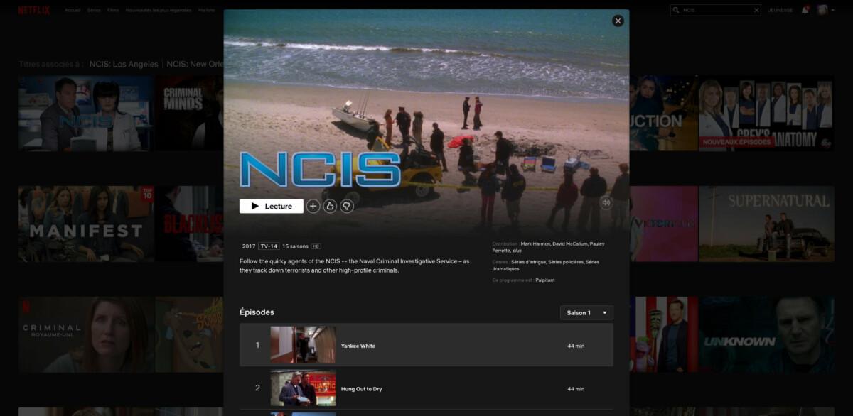 NCIS est une série qui n'est pas disponible en France sur Netflix. Elle devient accessible en délocalisant sa connexion aux États-Unis.