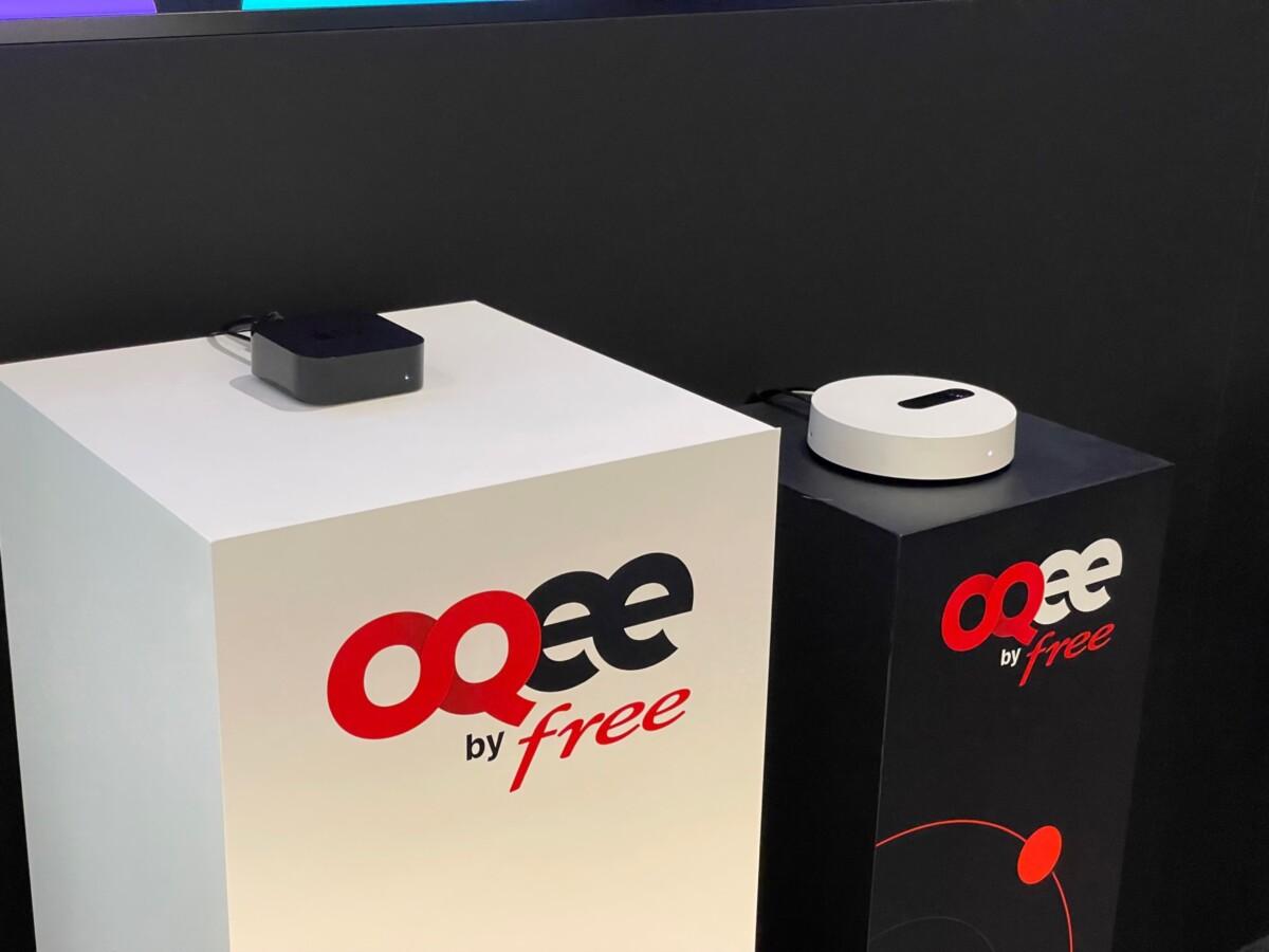 Apple TV 4K avec l'application Oqee, à côté du serveur Freebox Pop