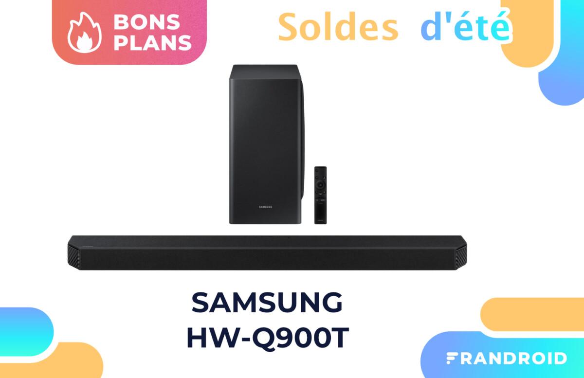 Promotion appliquée sur la barre de son Samsung HW-Q900T pendant les soldes.