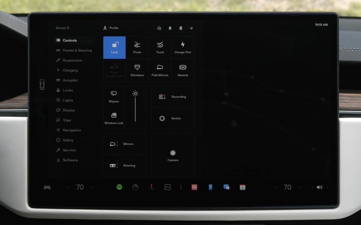 L'interface de la Tesla Model S 2021