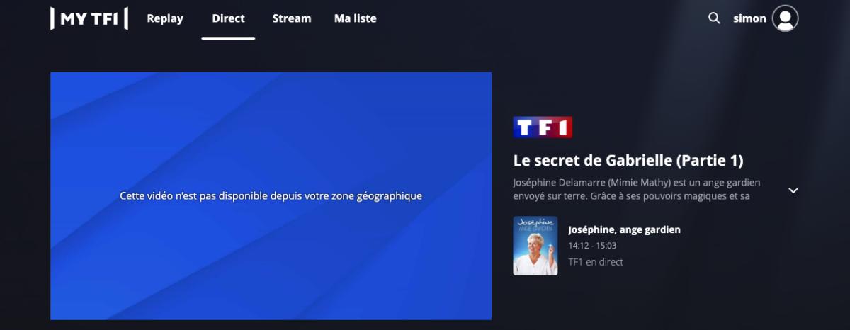Message d'erreur TF1 depuis l'étranger