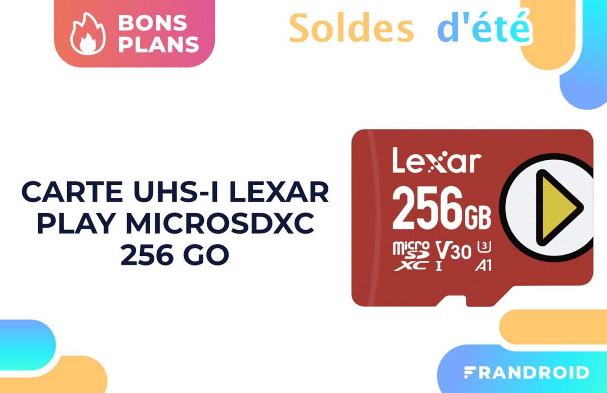 Une carte MicroSDXC (256 Go) jusqu'à 150 Mo:s en lecture