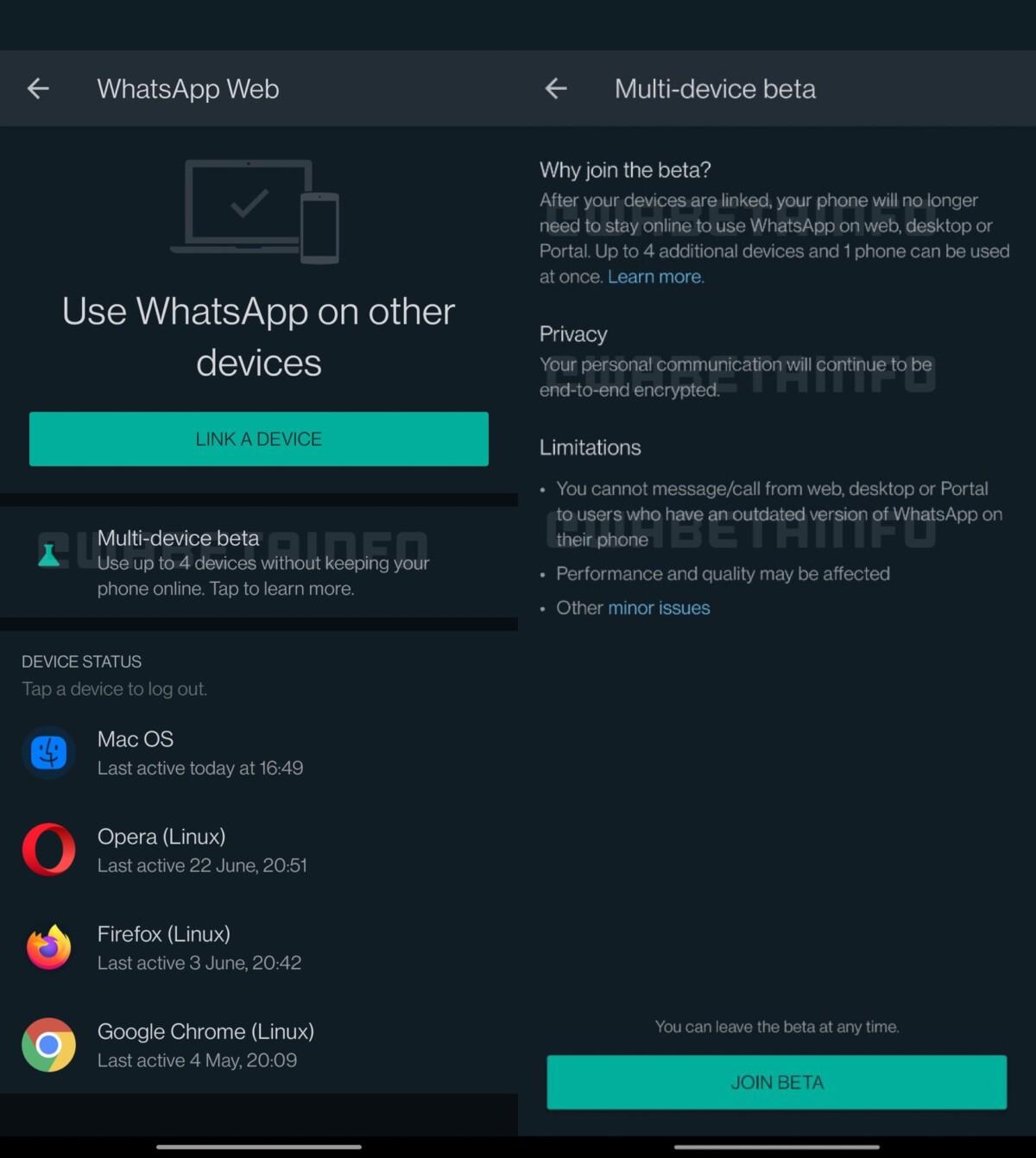 Nova tela de modo multi-dispositivo, atualmente em beta // Fonte: WABetainfo
