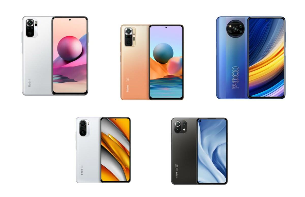 Image regroupant les smartphones Xiaomi : Redmi Note 10S, Remdi Note 10 Pro, Poco X3 Pro, Poco F3 et Mi 11 Lite 5G.