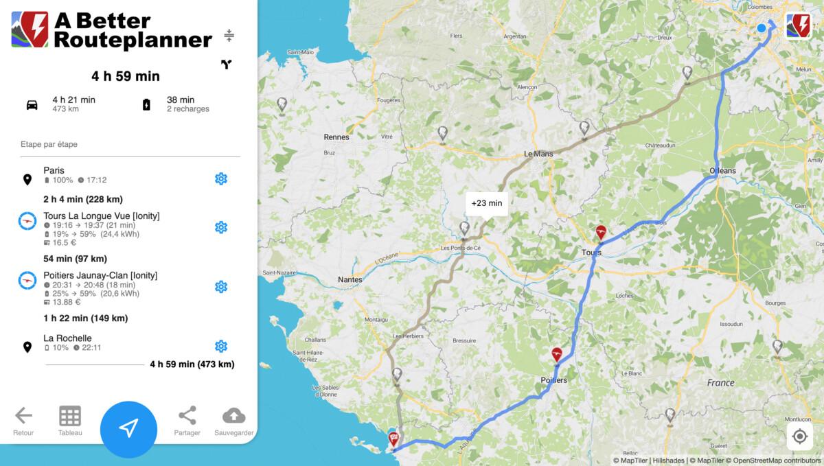 2 recharges de moins de 20minutes pour un Paris-La Rochelle en Hyundai Kona / Capture d'écran de A Better Routeplanner