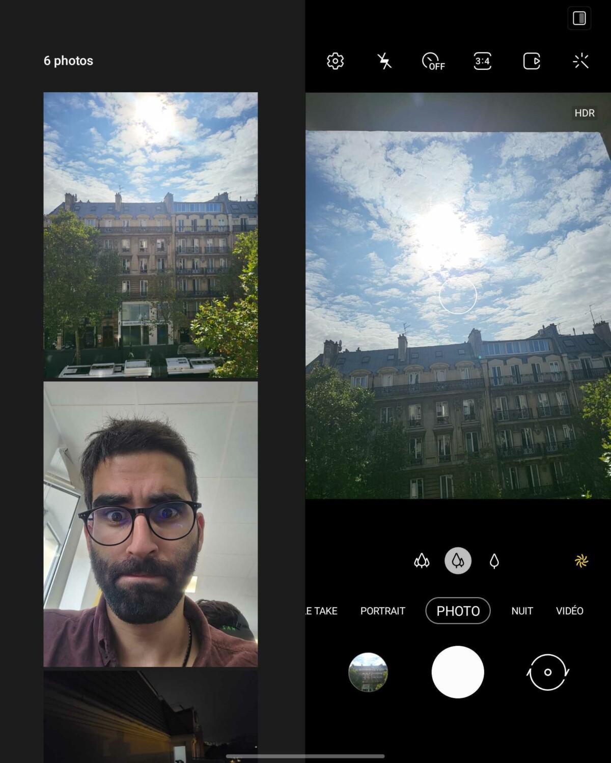 Affichage adapté de l'appareil photo du Galaxy Z Fold 3
