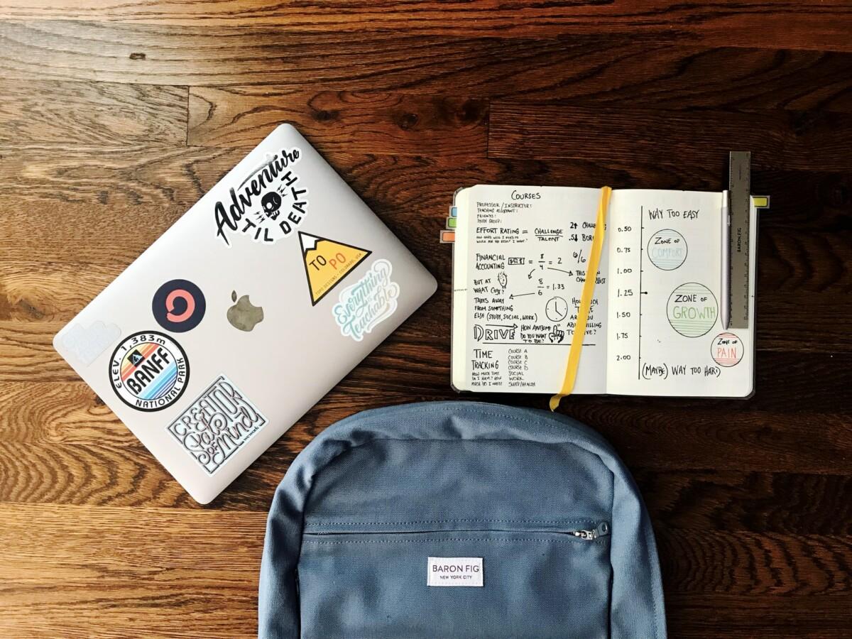 fournitures scolaires étalées sur bureau