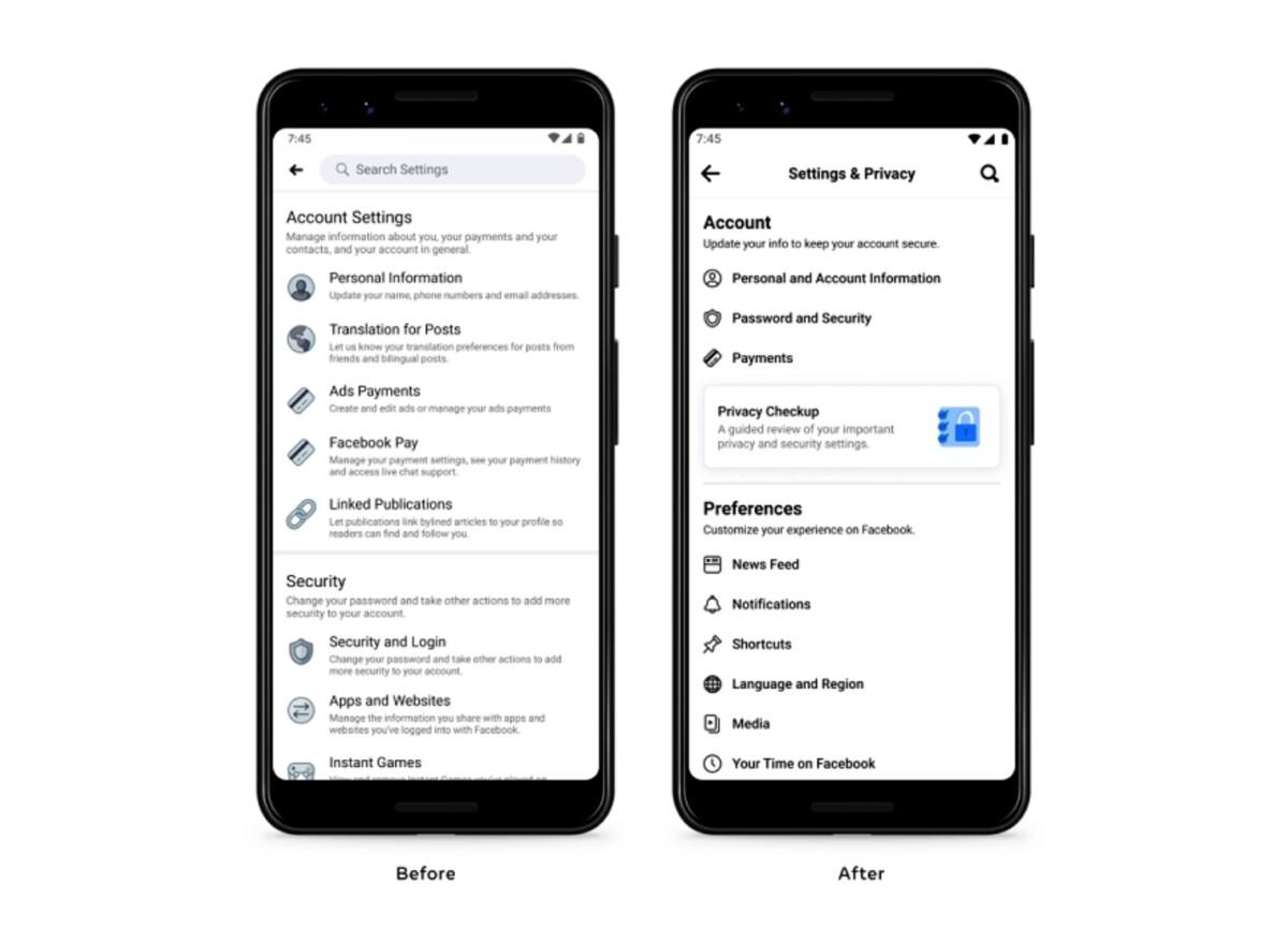 Facebook a revu assez largement le menu des réglages de son application mobile