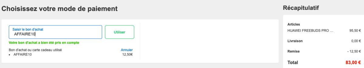 Capture d'écran : les écouteurs de Huawei passe à 83 euros grâce au code promo «AFFAIRE10»
