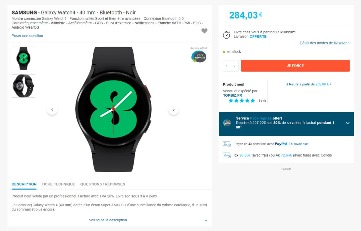La page de la Samsung Galaxy Watch 4