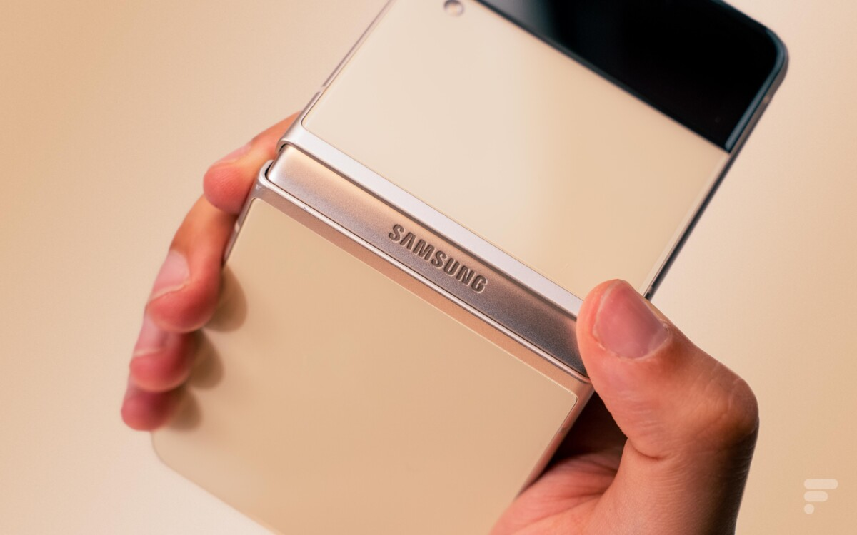 La charnière laisse apparaître le logo Samsung.
