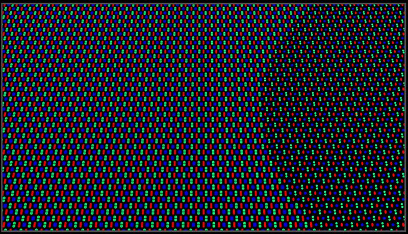 Distribución de píxeles en la zona oculta de la cámara frontal